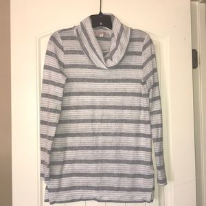 Loft Gray Striped Cowl Neck Tunic Size XS